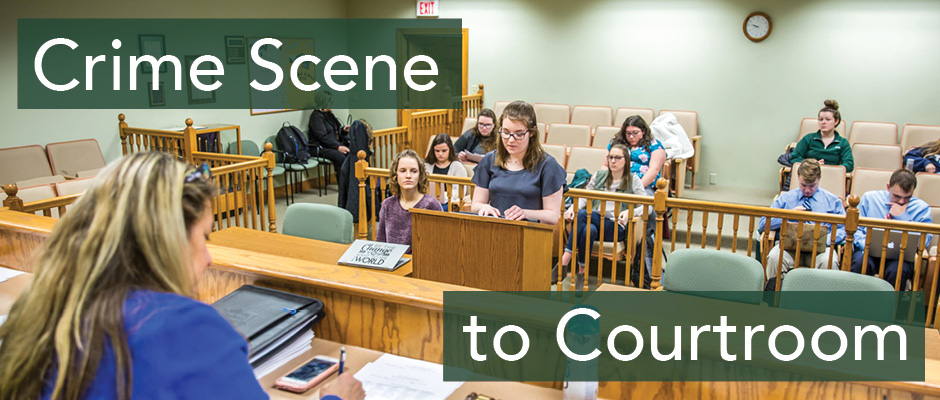 Banner image advertising Crime Scene to Courtroom - shows students presenting a case in the Bernard J. Weitzman Model Courtroom.