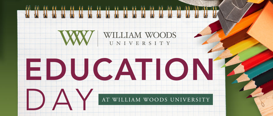 Image advertising Education Day at William Woods University. Shows a notebook and colored pencils.