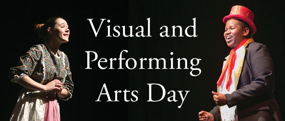 Banner image advertising Visual and Performing Arts Day - displays two performers facing each other, singing.