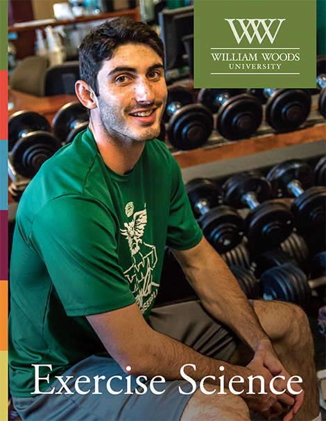 EXS Flipbook Cover - shows student seated on a weight bench at Weider Fitness Center.