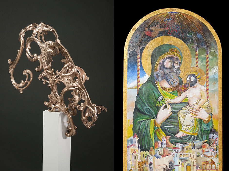 Left: Bronze Cat Sculpture by Chris Morrey, Right: Urgency Painting by Dennis Murphy, featuring a mother and child in gas masks throned above a chaotic, exaggerated city scene.